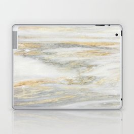 White Gold Marble Texture Laptop & iPad Skin