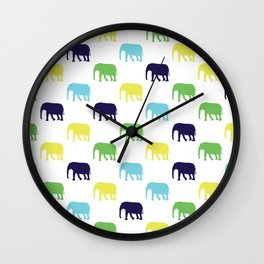 Colorful Elephants Silhouettes Wall Clock