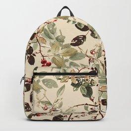 Vintage ivory red green forest berries floral Backpack