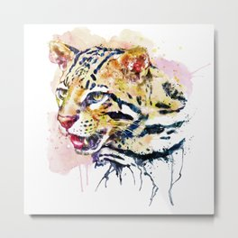 Ocelot Head Metal Print