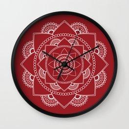 Mandala 01 - White on Burgundy Wall Clock