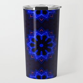 Circular futuristic abstract shapes of blue and gold colors. Images from outside this world. Travel Mug