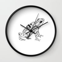 backpack Wall Clocks featuring Pack your backpack by Léa Poisson