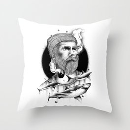 THE MAN AND THE SEA Throw Pillow