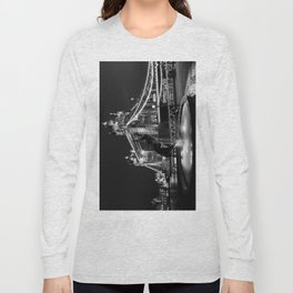 Tower Bridge And the Girl and dolphin Statue Long Sleeve T-shirt
