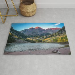 Maroon Bells Morning - Sunrise and Autumn Color near Aspen, Colorado Rug