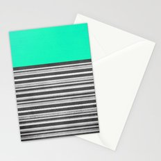 Mint Gray Stripes Stationery Cards