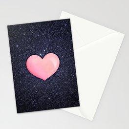 Pink heart on shiny black Stationery Cards