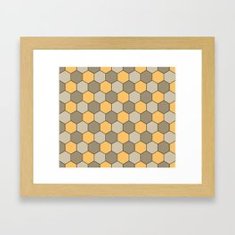 Honeycombs op art beige Framed Art Print