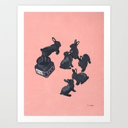 Black bunnies born from Manga ink Art Print
