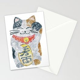 Watercolor Maneki Neko / Lucky Cat Stationery Cards