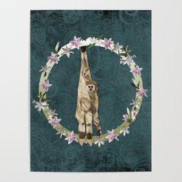 Lar Gibbon Lily Wreath Poster