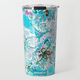 BEACH BABE Aqua Watercolor Floral Travel Mug