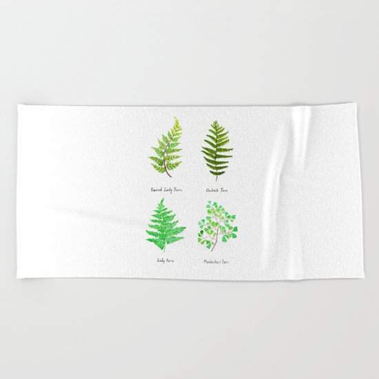 fern collection watercolor Beach Towel