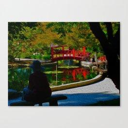 Red Bridge Reflections Canvas Print
