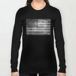 Black and White USA Flag in Grunge Long Sleeve T-shirt