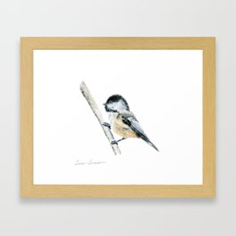 """Chicka-dee-dee-dee"" a painting of a Chickadee by Teresa Thompson Framed Art Print"