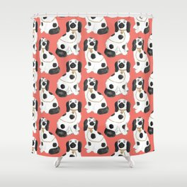 Staffordshire Dog Figurines No. 2 in Neon Peach Shower Curtain