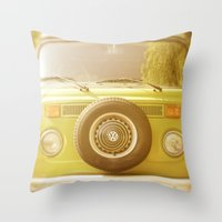 vw Throw Pillows featuring Retro VW by ShadeTree Photography