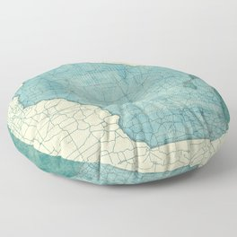 Wisconsin State Map Blue Vintage Floor Pillow