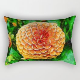 Dahlia rose painting with a green background Rectangular Pillow