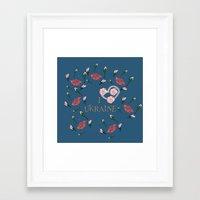 ukraine Framed Art Prints featuring love UKRAINE by luiza13
