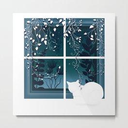 White Kitty Cat Window Watcher Metal Print