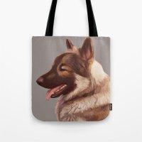 german shepherd Tote Bags featuring German Shepherd by Lauren Rakes