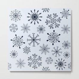 Snowflakes (Dark blue on light blue) Metal Print
