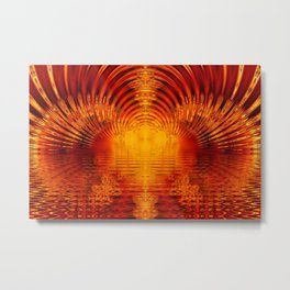 Abstract Fractal Golden Red Tunnel of Light Metal Print