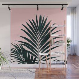 Tropical Green palm tree leaf blush pink gradient photography Wall Mural