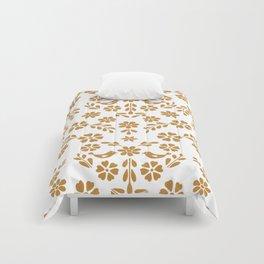 Golden floral symmetric birds heart Comforters