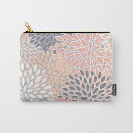 Flowers Abstract Print, Coral, Peach, Gray Carry-All Pouch