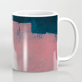Morning Light: a minimal abstract mixed-media piece in pink gold and blue by Alyssa Hamilton Art Coffee Mug