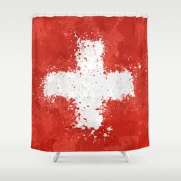 Switzerland Flag - Messy Action Painting Shower Curtain