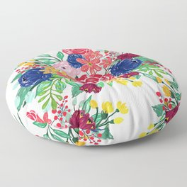 Navy Blue and Red watercolor boho chic Flowers hand paint Floor Pillow