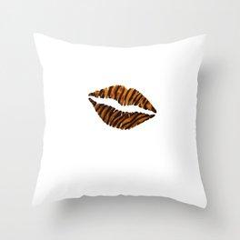 Tiger Pattern Lips Stripes Fur Mouth Animal Print Throw Pillow