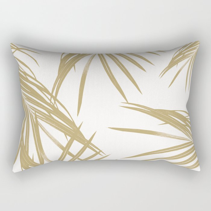 Gold Palm Leaves Dream #1 #tropical #decor #art #society6 Rectangular Pillow