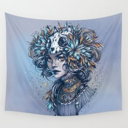 Night Cat Witch Wall Tapestry
