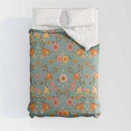 Bohemian 70s floral print, 70s pattern, Art nouveau Blue Comforters