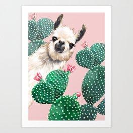 Llama and Cactus Pink Art Print
