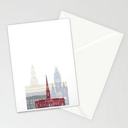Harvard skyline poster Stationery Cards