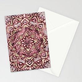Burgundy plum mandala Stationery Cards