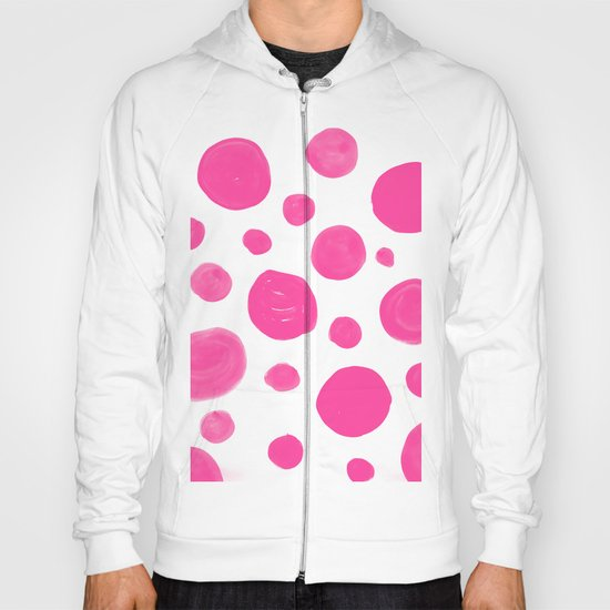 Pink handdrawn dots - Polkadot pattern on white on #Society6 Hoody