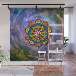 Jerry Hand in a Daisy Mandala Wall Mural