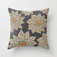 Floral Rhythm In The Dark Throw Pillow