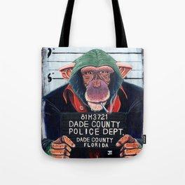 Monkey mugshot Tote Bag