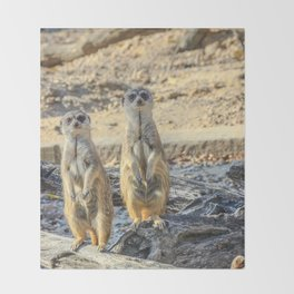 A couple of meerkats Throw Blanket