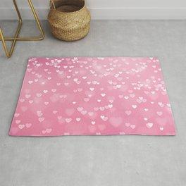 Pretty Pink Bokeh Love Hearts Rug