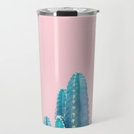 Pastel Cactus Pink Background Travel Mug
